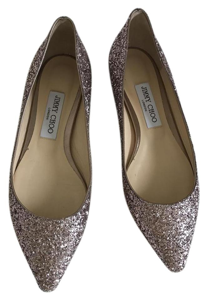 ba396919875d Jimmy Choo Tea Rose Glitter Flats Size US 8.5 Regular (M