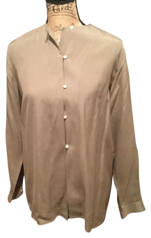 fdcbfdfe7393d J.Crew Light Olive Silk Tunic Button-down Top Size 0 (XS) - Tradesy