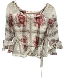 Marni Romantic Rose Peasant Silk Top Cream, Black, Pink