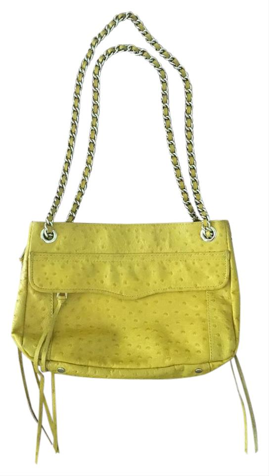 Yellow Ostrich Leather embossed Minkoff Shoulder Ostrich Swing Rebecca Bag qwBIUxWCt