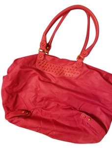Rebecca Minkoff Leather Nylon Tote in Neon Pink with gold studded hardware