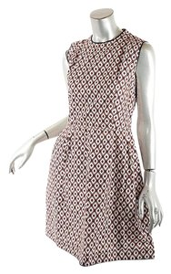 Marni short dress white, red, pink, black Cotton A-line Leather Piping on Tradesy