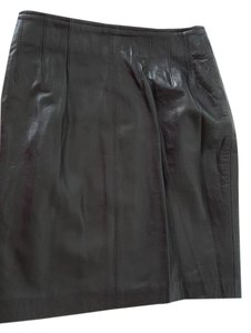 "Maxima Soft Neiman Marcus 18"" Long New Never Worn Mini Skirt Black leather"