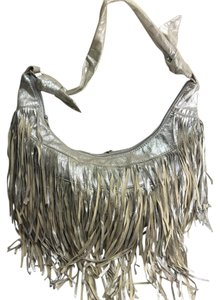 bebe Fringe Metallic Hobo Bag