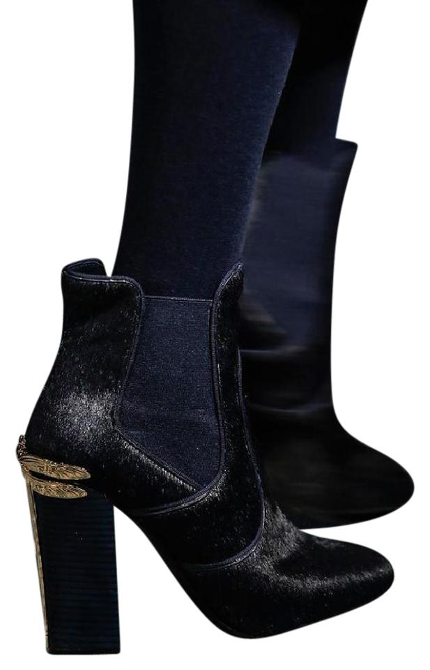 005be8a383727 Tory Burch Navy Blue Theodora Pony Hair Ankle Boots Booties Size US ...