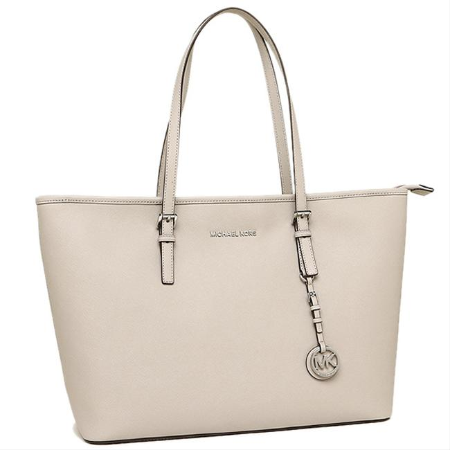 Item - Jet Set Travel (New with Tags) Saffiano Multu-function Tech-friendly Cement Gray/Silver Leather Tote