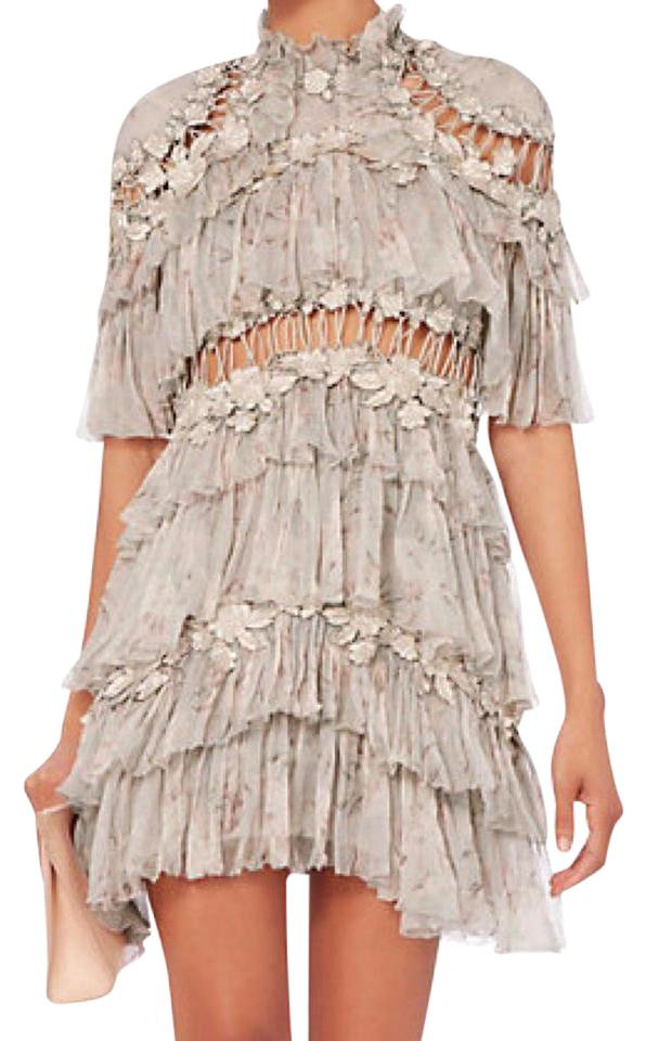 8e14d6caf079 ZIMMERMANN Taupe Floral Stranded Tier Silk Mini Short Casual Dress ...