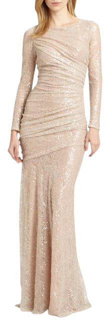 Item - Nude Sequined Lace Gown Long Formal Dress Size 2 (XS)