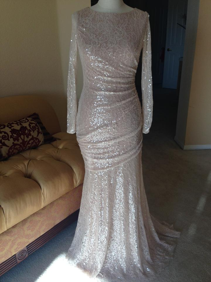 Carmen Marc Valvo Nude Sequined Lace Gown Long Formal Dress Size 2 ...
