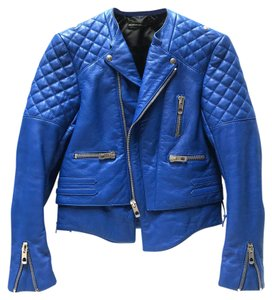 Balenciaga Motorcycle Moto Biker Quilted Accents Zipper Accents Electric Blue Jacket