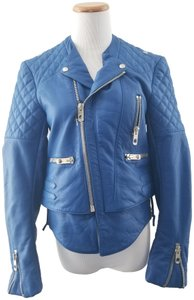 Balenciaga Motorcycle Moto Biker Quilted Accents Zipper Accents Blue Leather Jacket