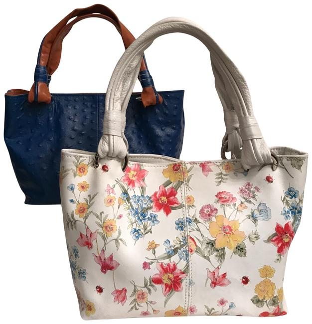 Item - Embossed Ostrich Like New & Foral Print Blue White Leather Tote