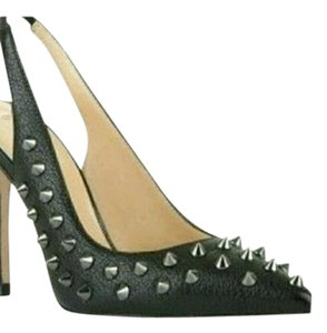 BCBGMAXAZRIA Spike Silver Leather Black & Gunmetal Pumps
