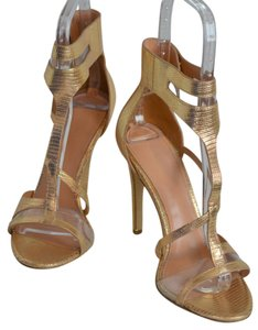 Sigerson Morrison Strappy Leather Gold Metallic Sandals