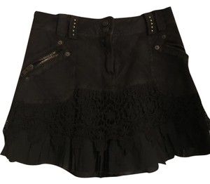 Morgan de Toi Crochet Denim Mini Skirt Brown