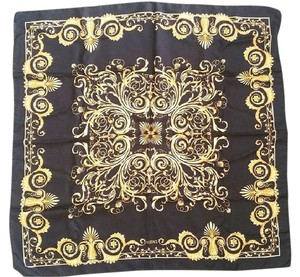 Versace Black and Gold Filigree Motif Square Scarf