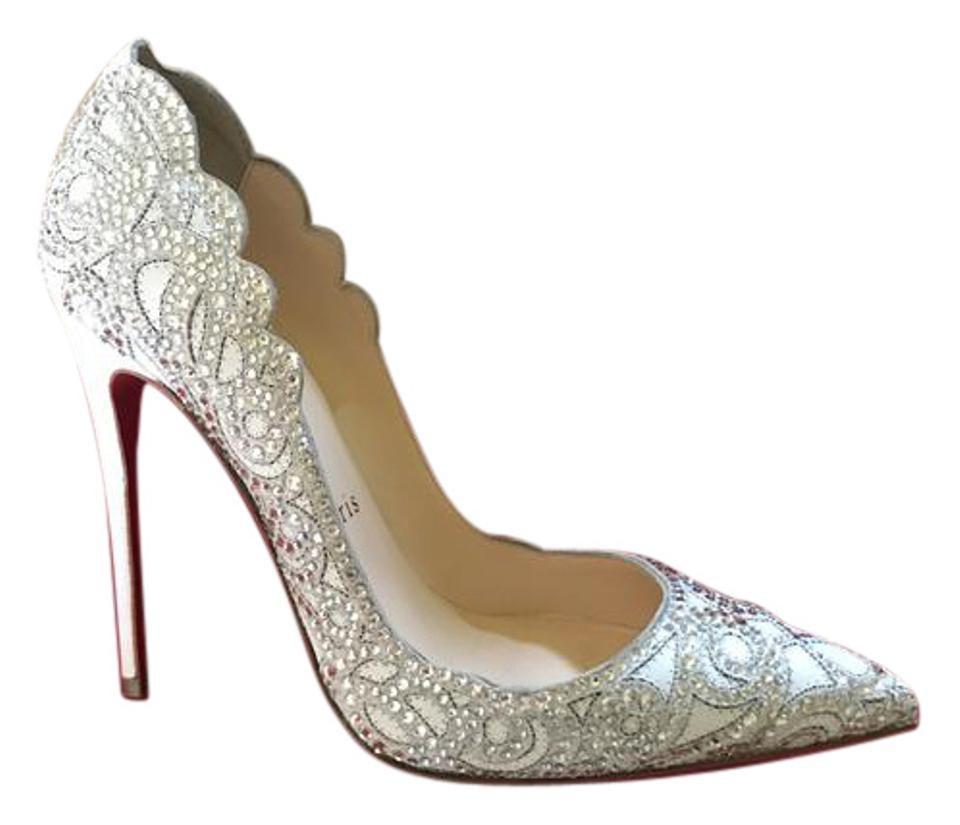 huge discount 29519 ae517 Christian Louboutin White Top Vague Crystal Embellished 100 Bridal Pumps  Size US 6 Regular (M, B) 52% off retail