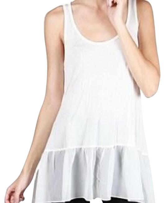 Item - White Long Ruffle Tank Top/Cami Size 10 (M)