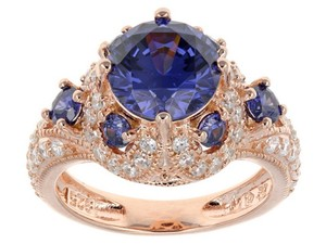 Blue and Rose Gold Tanzanite Diamond Simulant Sterling Silver Size 9 Engagement Ring