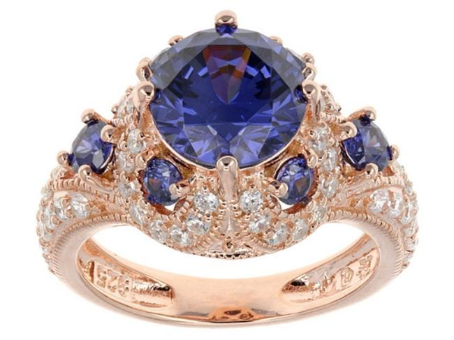 Blue and Rose Gold Tanzanite Diamond Simulant Sterling Silver Size 9 Engagement Ring Blue and Rose Gold Tanzanite Diamond Simulant Sterling Silver Size 9 Engagement Ring Image 1