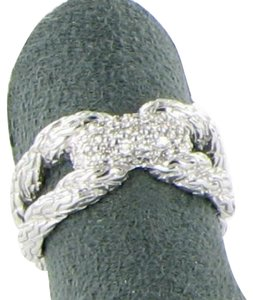 John Hardy Classic Chain Diamond Pave Ring 0.25cts Sterling Silver Sz 7