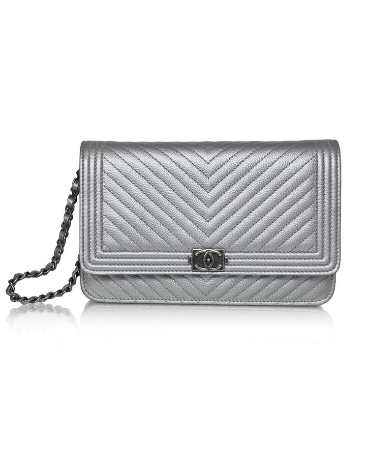 afaec6aca571 Chanel Wallet on Chain Chevron Woc with Box Silver Caviar Leather ...