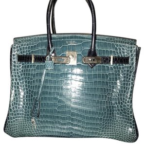 d62be3ef0b Hermès Birkin Color 35 Shiny Blue Jean Porosus Crocodile with Sapphire Bleu  Stripes with Brushed Palladium Hardware Satchel