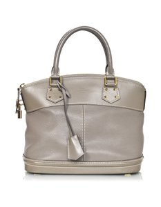 Louis Vuitton Lockit Leather Top Handle Tote in grey
