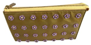 Tory Burch Tory Burch Spiked Flower Tall Cosmetic Case Bag Gold Shimmer
