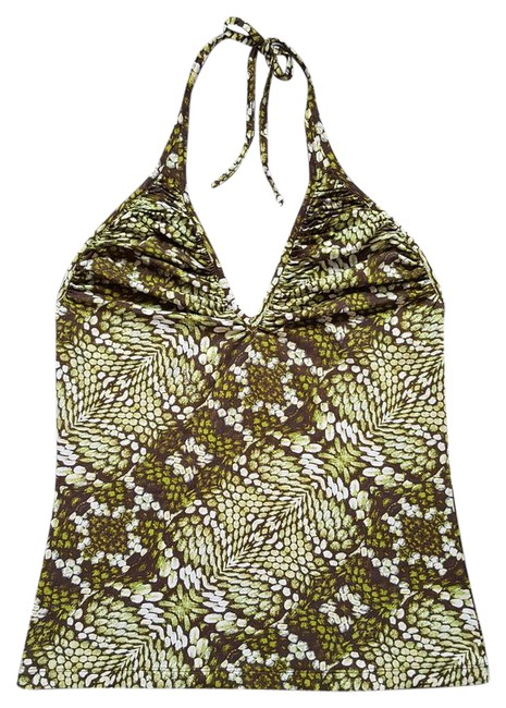 Item - Green / Brown / White Snake Animal Print Stretch It 48 Halter Top Size 12 (L)