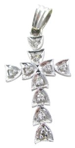 Other 18KT SOLID WHITE GOLD CROSS 10 DIAMONDS .25 CARAT 2.7 GRAMS PENDANT CHARM JEWEL
