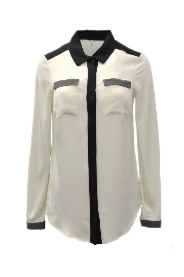 25d1d5b0f86899 MILLY Black Ivory Grey Silk Blouse Button-down Top Size 2 (XS) - Tradesy