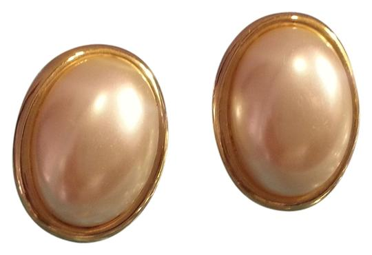 Vintage Vintage Large Pearl & Gold Earrings for Pierced Ears