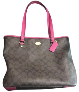 6828f26e66 Coach Purse and Matching Wallet Brown Hot Pink Polished Leather Tote ...