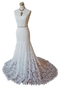 Nicole Miller Ivory Floral Venice Lace Riley with Tags Feminine Wedding Dress Size 8 (M)