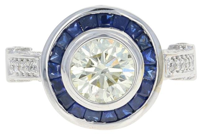 Wilson Brothers Jewelry Diamond & Sapphire Halo - 18k Gold Gia Very Good Round Brilliant Ring Wilson Brothers Jewelry Diamond & Sapphire Halo - 18k Gold Gia Very Good Round Brilliant Ring Image 1
