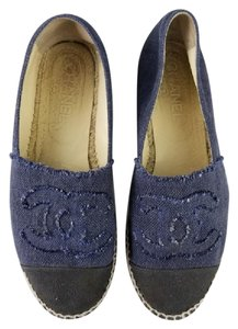 Chanel Espadrilles Canvas Double Soled Espadrilles Blue and black Flats