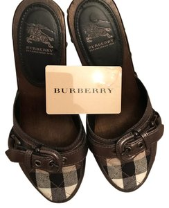 Burberry gray/pewter/black/white/multi/check / Mules