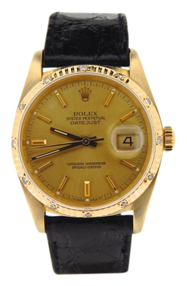 535bcc3263e71 Rolex Gold Pre Owned Mens Datejust Diamond with A Champagne Dial 16018 Watch