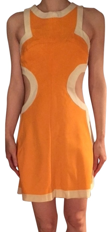 abdb2a60 Reformation Orange Colorblock Mod Mini with Cut-out Sides Casual Dress