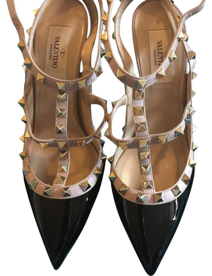 ladies Valentino Black Rockstud T-strap very Pumps The color is very T-strap noticeable 49841e