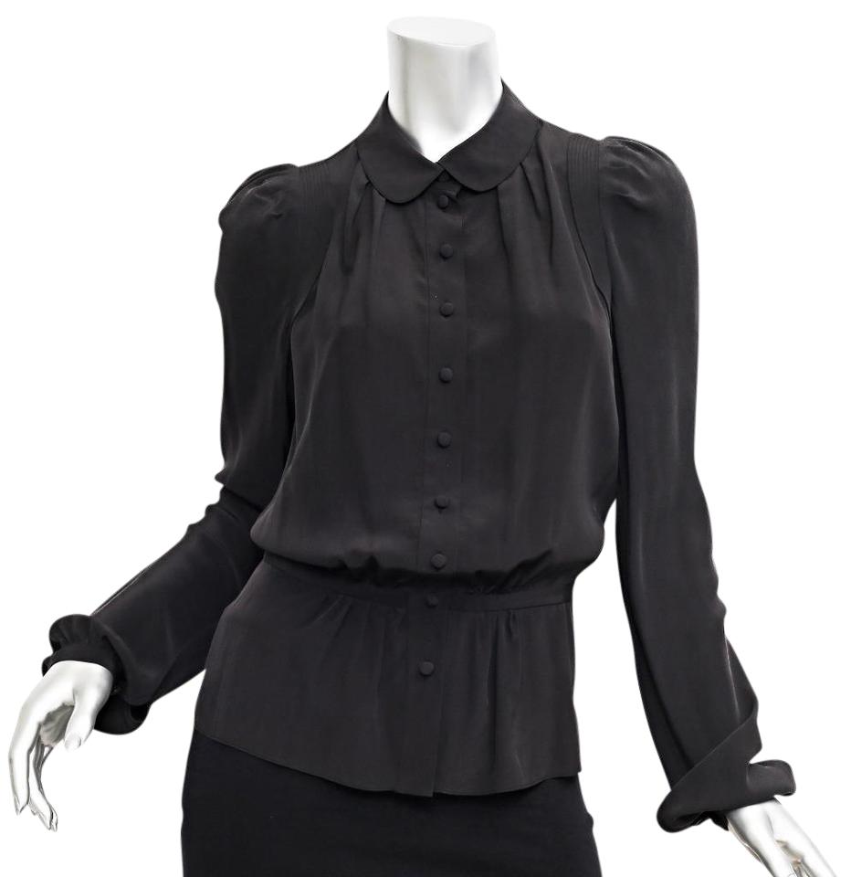 9845392240fc Balenciaga Black Puff Long Sleeve Button Shirt Blouse Size 8 (M ...