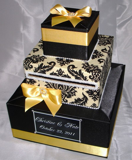 Damask Card Boxes 3 Tier