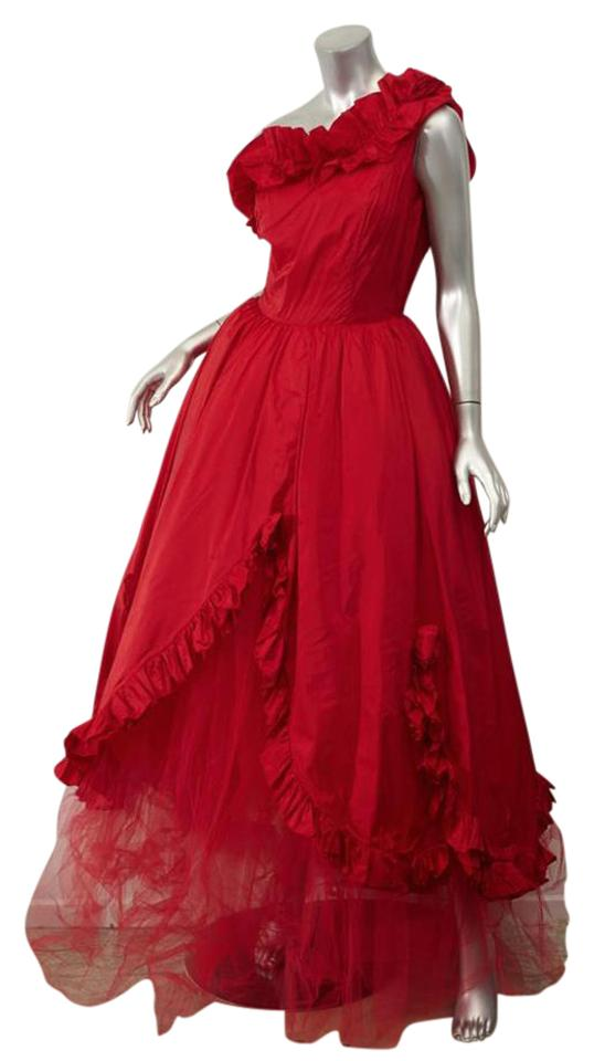 Balenciaga *vintage*red Rosette Ruffle Tulle One-shoulder Ball Gown ...