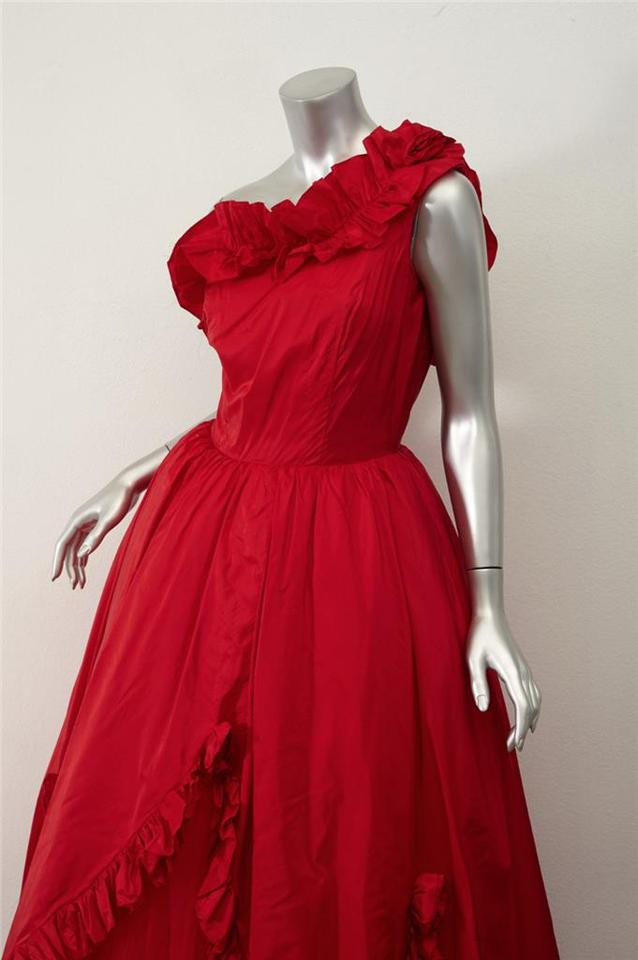 f1a76677b9df Balenciaga  vintage red Rosette Ruffle Tulle One-shoulder Ball Gown ...