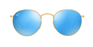 Ray-Ban Gold Rounded Ray Ban Blue Lens RB 3447 001/90 - Free 3 Day Shipping