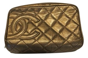 Chanel CHANEL Quilted Khaki/Bronze Makeup Case With Large CC Logo