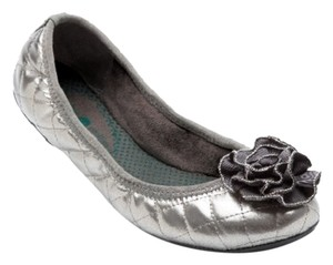 Lindsay Phillips Ballet Leather Quilted Dress Pewter Flats