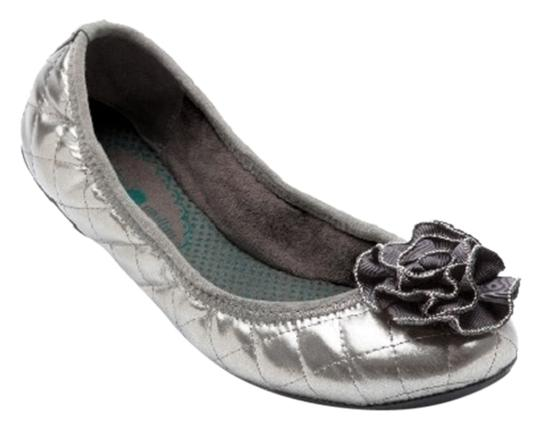 Lindsay Phillips Ballet Leather Quilted Dress Casual Classic Non Skid Changeable Snap Silver Pewter Flats