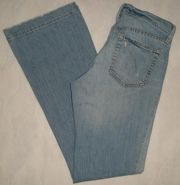 Gap Classic 5 Pocket Style * Cotton/Spandex * Machine Washable * Distressing Detail *whiskering Detail * Random Destroyed * Flare Leg Jeans-Medium Wash Image 2